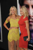 Brittany Daniel & Cynthia Daniel. LOS ANGELES, CA - APRIL 10, 2014: Brittany Daniel & Cynthia Daniel (in yellow) at the Los Angeles premiere of Transcendence at stock image