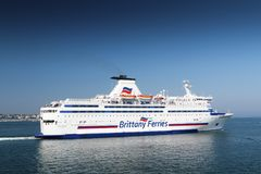 Brittany Ferries Bretagne Ferry Sailing van Saint Malo stock afbeelding