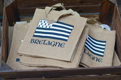 Brittany flag on bag-souvenir. Stock Photography