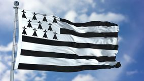 Brittany Flag in a Blue Sky. Use this clip loud and proud to express loyalty and love to our country. It is a seamless loop with luma channel Stock Photos