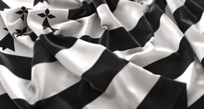 Brittany Flag Ruffled Beautifully Waving Macro Close-Up Shot Royalty Free Stock Photo