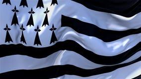 12 Brittany Flag Waving en fondo inconsútil continuo del lazo del viento stock de ilustración
