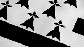 Brittany Flag Waving en la animación del viento - vídeo ilustración del vector