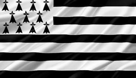 Brittany flag waving with the wind, 3D illustration. 3D rendering Royalty Free Stock Photography