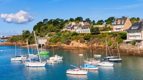 Brittany, France. Seaside villas on a hill on atlantic coast, Brittany, France stock image