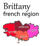 Brittany french region map Royalty Free Stock Image