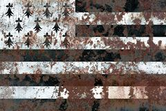Brittany grunge flag, dependent territory flag. Old flag Stock Photo