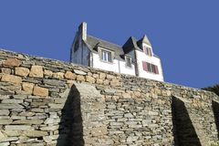 Brittany house. France brittany finistere the amorique coast - armorican corniche between morlaix and lannion Stock Image