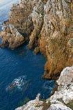 brittany klippor coast france Arkivfoto