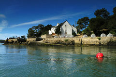 Brittany oyster-farming. Oyster-farming on crac'h river brittany Stock Photo