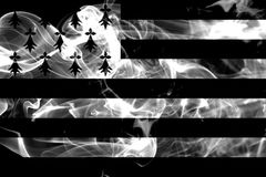 Brittany smoke flag, dependent territory flag.  Royalty Free Stock Photo
