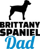 Brittany Spaniel dad silhouette. With blue word Stock Photography