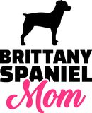 Brittany Spaniel mom silhouette. With pink word Royalty Free Stock Image