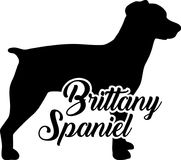 Brittany Spaniel silhouette real word. Brittany Spaniel silhouette real with word Royalty Free Stock Photos