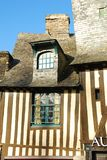 Brittany timber framed house, Vitré, France. Old timber framed housing in Vitré, Brittany, France stock photo
