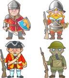 Britten tjäna som soldat, en uppsättning av roliga bilder för vektor stock illustrationer