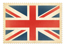 Brittish postage stamp with The Great Britain flag isolated. Clipping path is included Stock Image