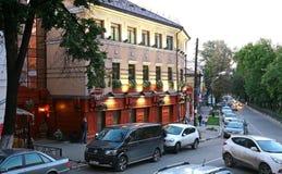 Brittisk bar för kafé i Nizhny Novgorod Royaltyfria Foton