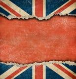 Brittisk flagga för Grunge på rivit sönder papper med stor copyspace Royaltyfri Bild