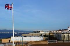 Brittisk flagga i Gibraltar Arkivfoton