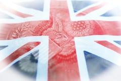 Brittisk flagga med den amerikanska en dollaren Eagle Inside High Quality arkivbild