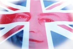 Brittisk flagga med drottningen Elizabeth High Quality fotografering för bildbyråer