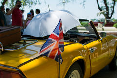 Brittisk flagga på Oldtimershändelse Royaltyfri Fotografi