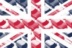 Brittisk flagga, små bilar, KORTKORT Arkivfoto