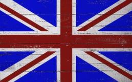 Brittisk flagga som målas på ett träbräde Arkivfoton