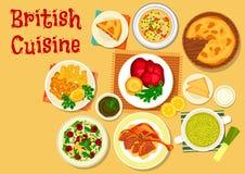Brittisk kokkonstfisk och kötträttsymbol royaltyfri illustrationer