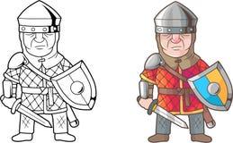 Brittisk medeltida krigare, färgläggningbok stock illustrationer