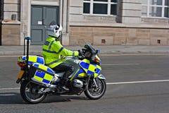 Brittisk motorcykelpolis Arkivbilder