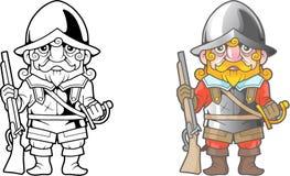 Brittisk soldat, rolig illustration, färgläggningbok stock illustrationer