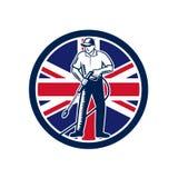 Brittisk trycktvagningunion Jack Flag Circle Retro vektor illustrationer