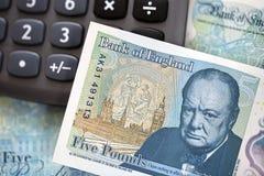 Brittisk valuta - fem pund anmärkning Royaltyfri Bild