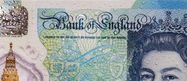 Brittisk valuta - fem pund anmärkning Arkivbilder