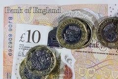 Brittisk valuta - ny polymer tio pund anmärkning Fotografering för Bildbyråer