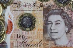 Brittisk valuta - ny polymer tio pund anmärkning Arkivfoto
