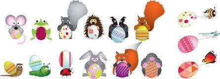 brittiska easter ägg som rymmer djurliv Arkivbild
