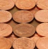 Brittiska encentmynt 2 Arkivfoto