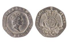 20 brittiska encentmynt mynt som isoleras på vit bakgrund Royaltyfri Fotografi