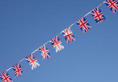 Brittiska fackliga Jack Flag Bunting Row Arkivfoton