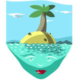 brittiska fina ööar gömma i handflatan den sandiga paradissanden spottar vitt jungfruligt vatten för treesturkos royaltyfri illustrationer