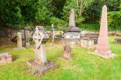 Brittiska Garrison Cemetery, Kandy Arkivbilder