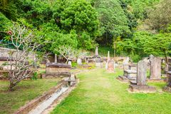 Brittiska Garrison Cemetery, Kandy Arkivfoton