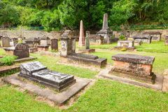 Brittiska Garrison Cemetery, Kandy Fotografering för Bildbyråer