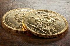 Brittiska guld- mynt Royaltyfria Foton
