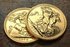 Brittiska guld- mynt Arkivfoto