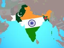 Brittiska Indien med flaggor på översikt royaltyfri illustrationer