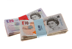 brittiska kontant pengar bemärker pundet Royaltyfria Foton
